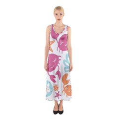 Animals Sea Flower Tropical Crab Sleeveless Maxi Dress