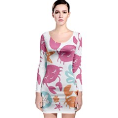 Animals Sea Flower Tropical Crab Long Sleeve Bodycon Dress