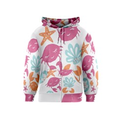 Animals Sea Flower Tropical Crab Kids  Zipper Hoodie