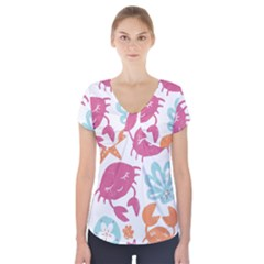 Animals Sea Flower Tropical Crab Short Sleeve Front Detail Top