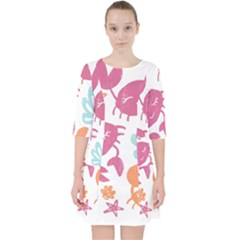Animals Sea Flower Tropical Crab Pocket Dress