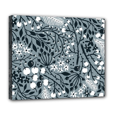 Abstract Floral Pattern Grey Deluxe Canvas 24  X 20