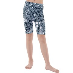 Abstract Floral Pattern Grey Kids  Mid Length Swim Shorts
