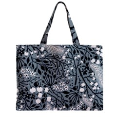 Abstract Floral Pattern Grey Zipper Mini Tote Bag