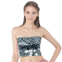 Abstract Floral Pattern Grey Tube Top