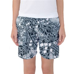 Abstract Floral Pattern Grey Women s Basketball Shorts