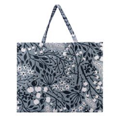 Abstract Floral Pattern Grey Zipper Large Tote Bag