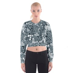 Abstract Floral Pattern Grey Cropped Sweatshirt