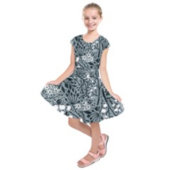 Abstract Floral Pattern Grey Kids  Short Sleeve Dress