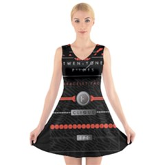 Twenty One Pilots Event Poster V Neck Sleeveless Skater Dress