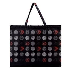 Digital Art Dark Pattern Abstract Orange Black White Twenty One Pilots Zipper Large Tote Bag