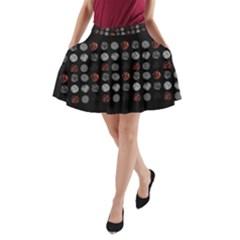 Digital Art Dark Pattern Abstract Orange Black White Twenty One Pilots A Line Pocket Skirt