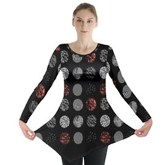 Digital Art Dark Pattern Abstract Orange Black White Twenty One Pilots Long Sleeve Tunic