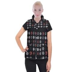 Digital Art Dark Pattern Abstract Orange Black White Twenty One Pilots Women s Button Up Puffer Vest