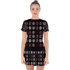 Digital Art Dark Pattern Abstract Orange Black White Twenty One Pilots Drop Hem Mini Chiffon Dress