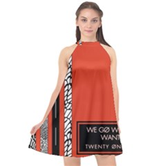 Poster Twenty One Pilots We Go Where We Want To Halter Neckline Chiffon Dress