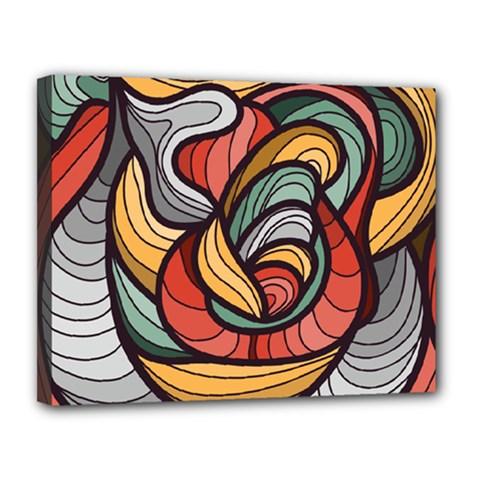 Beautiful Pattern Background Wave Chevron Waves Line Rainbow Art Canvas 14  X 11