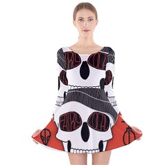 Poster Twenty One Pilots Skull Long Sleeve Velvet Skater Dress