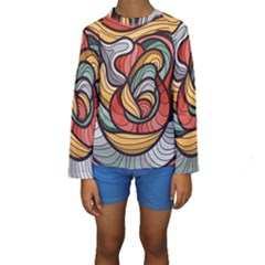Beautiful Pattern Background Wave Chevron Waves Line Rainbow Art Kids  Long Sleeve Swimwear