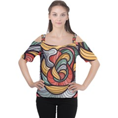 Beautiful Pattern Background Wave Chevron Waves Line Rainbow Art Cutout Shoulder Tee