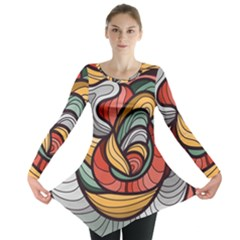 Beautiful Pattern Background Wave Chevron Waves Line Rainbow Art Long Sleeve Tunic