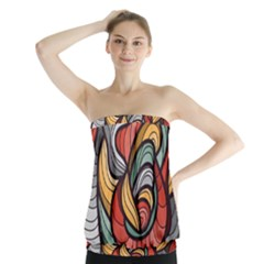 Beautiful Pattern Background Wave Chevron Waves Line Rainbow Art Strapless Top