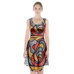 Beautiful Pattern Background Wave Chevron Waves Line Rainbow Art Racerback Midi Dress