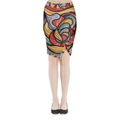 Beautiful Pattern Background Wave Chevron Waves Line Rainbow Art Midi Wrap Pencil Skirt
