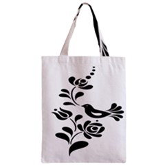 Birds Flower Rose Black Animals Zipper Classic Tote Bag