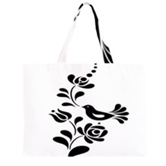 Birds Flower Rose Black Animals Zipper Large Tote Bag