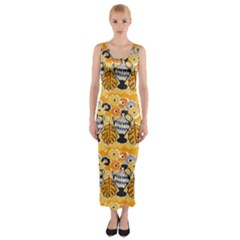 Amfora Leaf Yellow Flower Fitted Maxi Dress