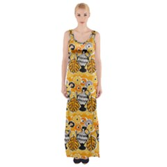 Amfora Leaf Yellow Flower Maxi Thigh Split Dress