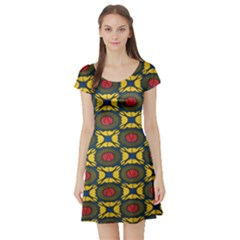 African Textiles Patterns Short Sleeve Skater Dress