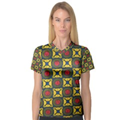 African Textiles Patterns V Neck Sport Mesh Tee