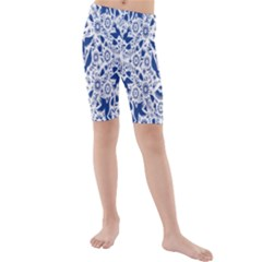 Birds Fish Flowers Floral Star Blue White Sexy Animals Beauty Kids  Mid Length Swim Shorts
