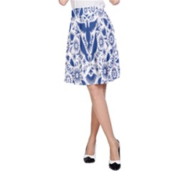 Birds Fish Flowers Floral Star Blue White Sexy Animals Beauty A Line Skirt