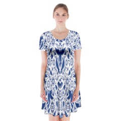 Birds Fish Flowers Floral Star Blue White Sexy Animals Beauty Short Sleeve V Neck Flare Dress