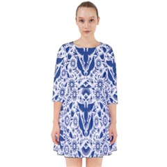 Birds Fish Flowers Floral Star Blue White Sexy Animals Beauty Smock Dress