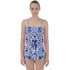 Birds Fish Flowers Floral Star Blue White Sexy Animals Beauty Babydoll Tankini Set