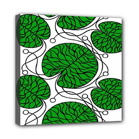Bottna Fabric Leaf Green Mini Canvas 8  X 8
