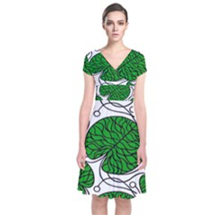 Bottna Fabric Leaf Green Short Sleeve Front Wrap Dress