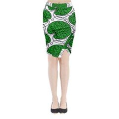 Bottna Fabric Leaf Green Midi Wrap Pencil Skirt