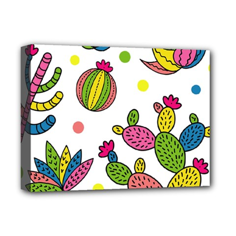 Cactus Seamless Pattern Background Polka Wave Rainbow Deluxe Canvas 16  X 12