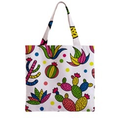 Cactus Seamless Pattern Background Polka Wave Rainbow Grocery Tote Bag