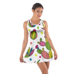 Cactus Seamless Pattern Background Polka Wave Rainbow Cotton Racerback Dress