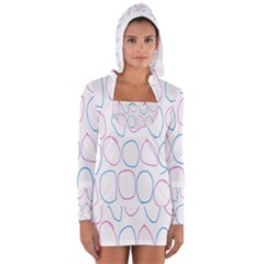 Circles Featured Pink Blue Long Sleeve Hooded T Shirt