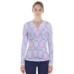 Circles Featured Pink Blue V Neck Long Sleeve Top