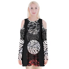 Twenty One Pilots Stressed Out Velvet Long Sleeve Shoulder Cutout Dress
