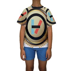 Twenty One Pilots Shield Kids  Short Sleeve Swimwear