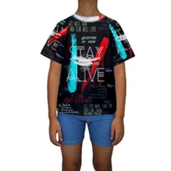 Twenty One Pilots Stay Alive Song Lyrics Quotes Kids  Short Sleeve Swimwear